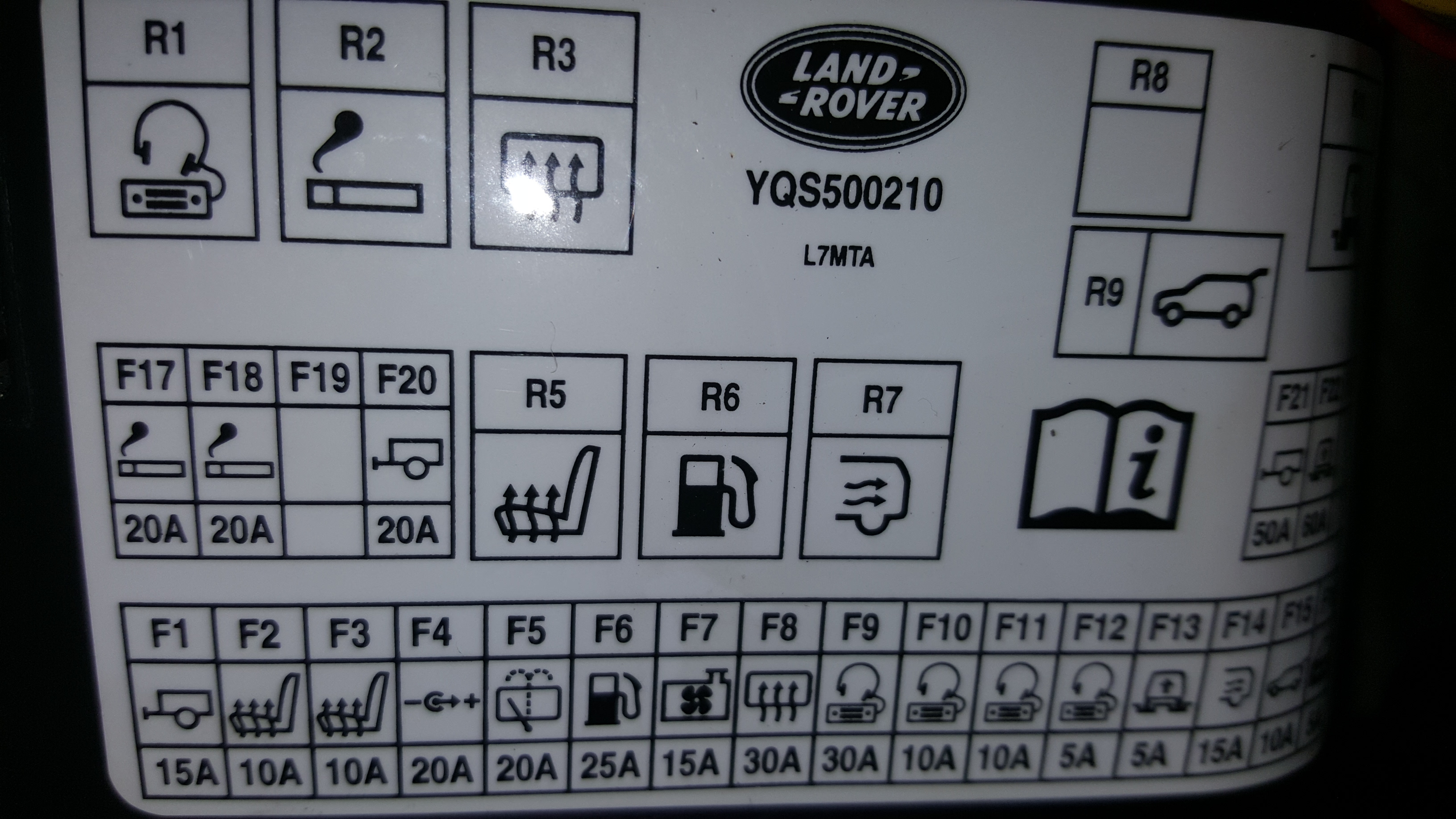range rover p38 fuse layout looking for rearview camera fuse in rear fusebox  06 hse  rearview camera fuse in rear fusebox