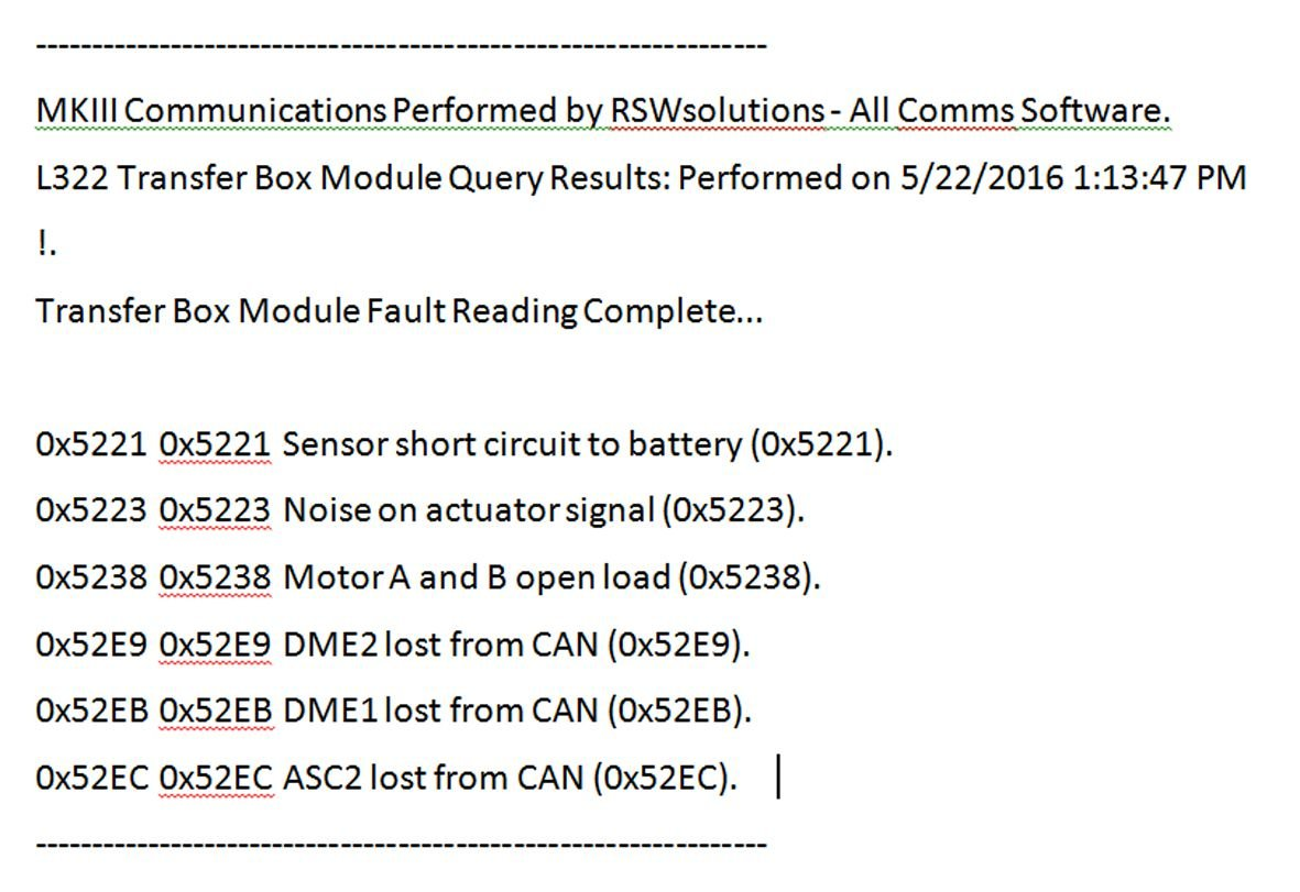 2004 Range Rover HSE - Trans Failsafe Prog error message